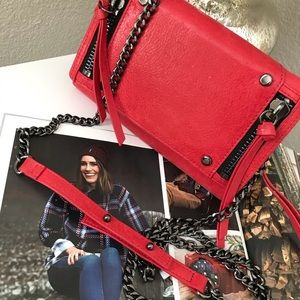 BOTKIER Logan Red Leather Crossbody Wallet